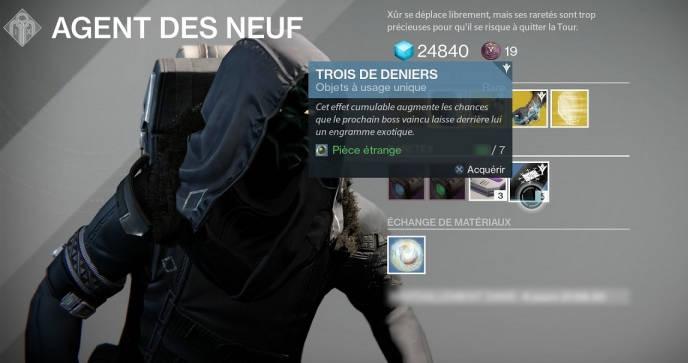 Destiny 2 - Trois de Deniers