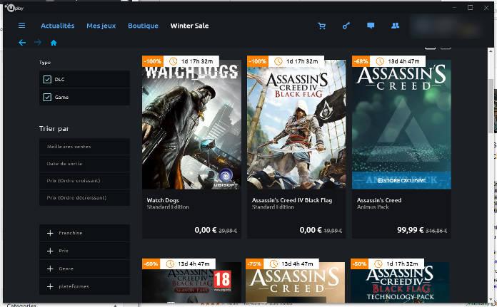 Ubisoft Jeux Offerts : Watch Dogs et Black Flag