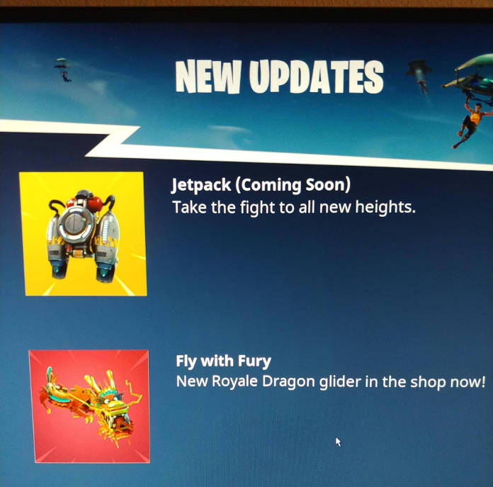 Fortnite - Bientôt des jetpacks - capture écran avec jetpack -