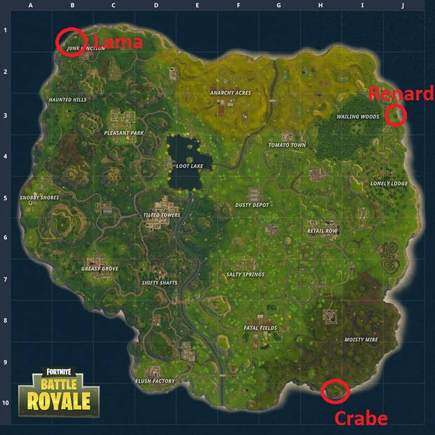 Fortnite Trouver un lama, un renard et un crabe - Saison 3