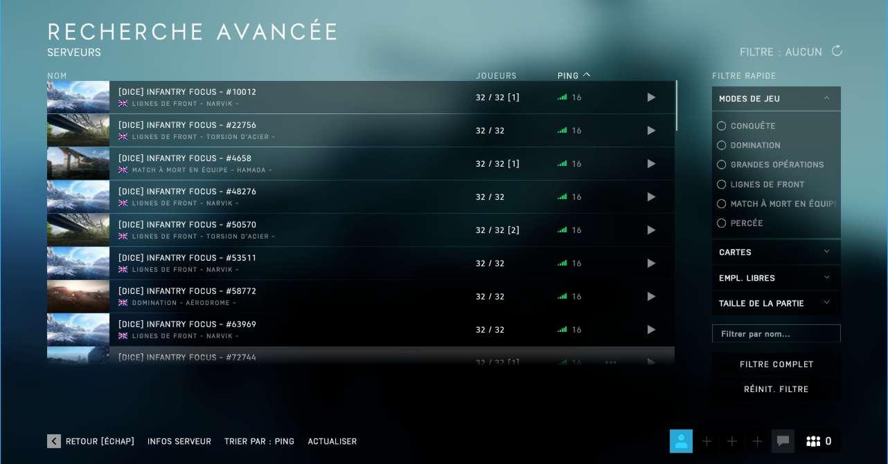 Battlefield 5 Guide modes de jeu - recherche avancée