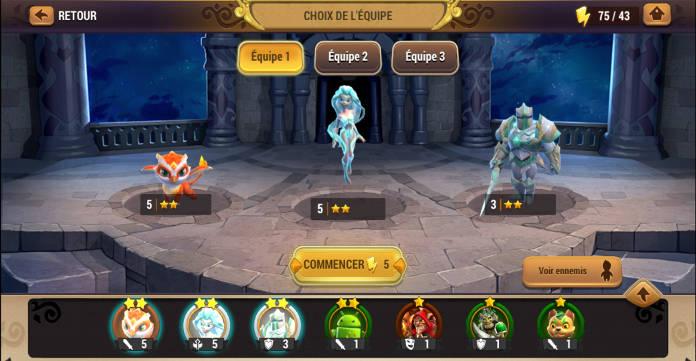 Test - Might & Magic Elemental Guardians - L'univers M&M sur mobile - Créatures preparation combat