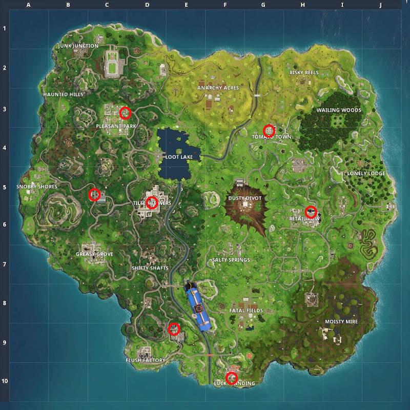 Trouver les nains de jardin de Fortnite - La carte pour les défis semaine 8