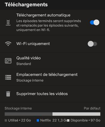Choisissezles paramétres de qualité vidéo pour le téléchargement Netflix