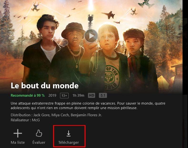 Netflix télécharger séries ou films