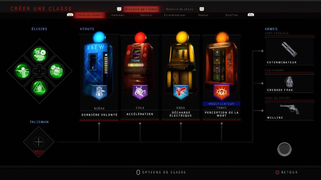 Black Ops 4 Zombies-Créer une classe-Atouts