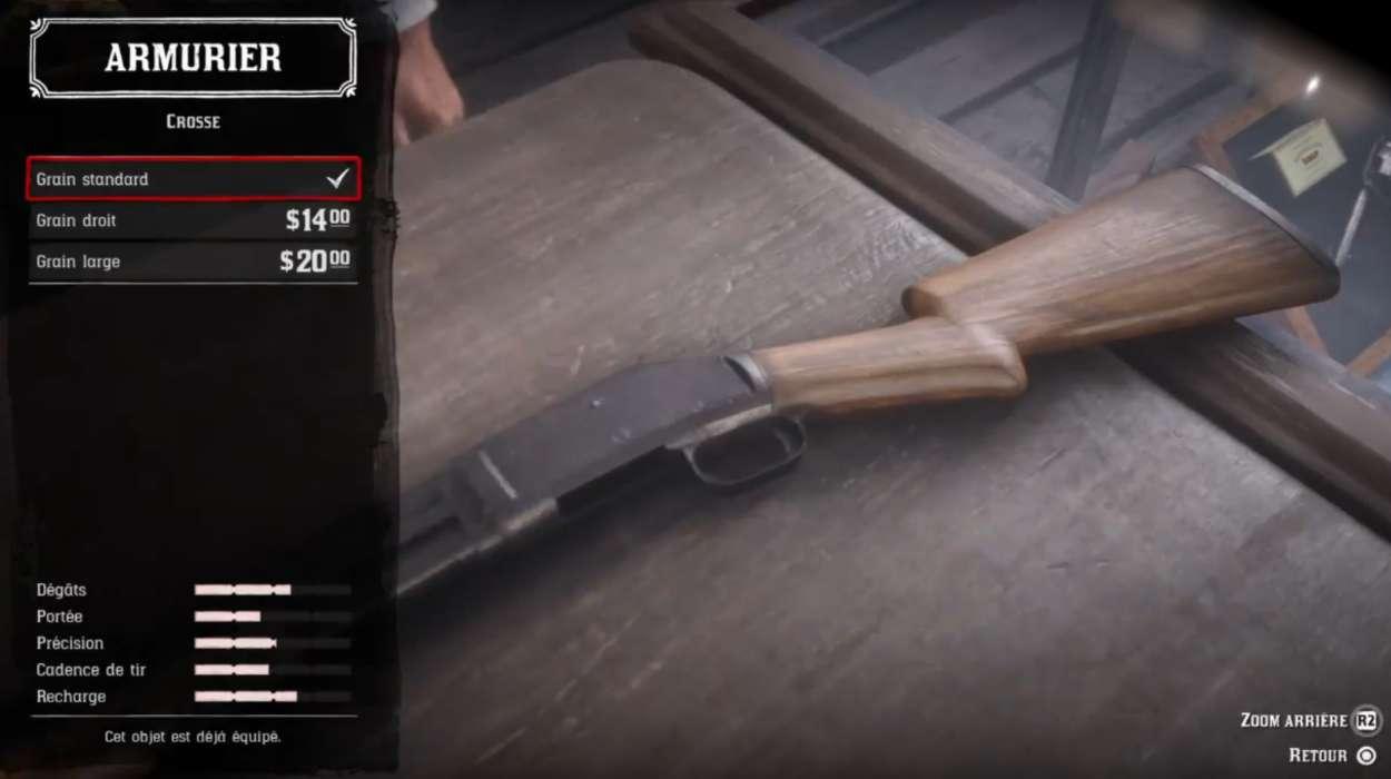 Red Dead Redemption 2 - Customiser les armes - Crosse