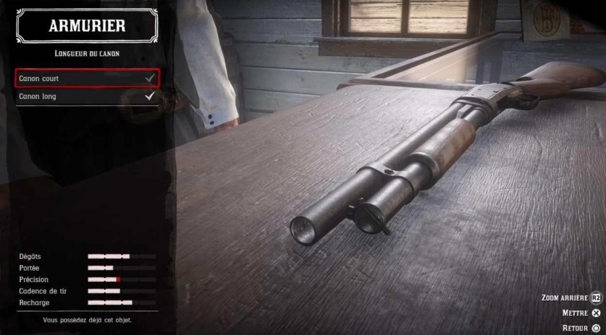 Red Dead Redemption 2 - Customiser les armes - Longueur canon