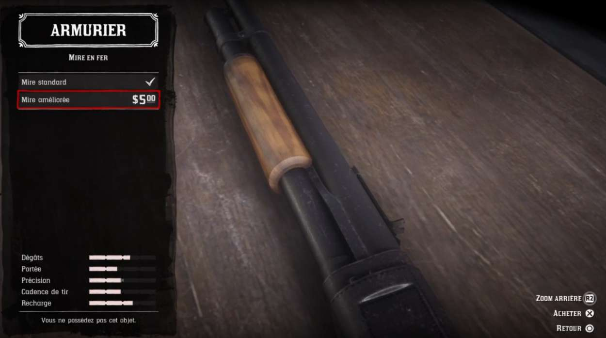 Red Dead Redemption 2 - Customiser les armes - Mire en fer