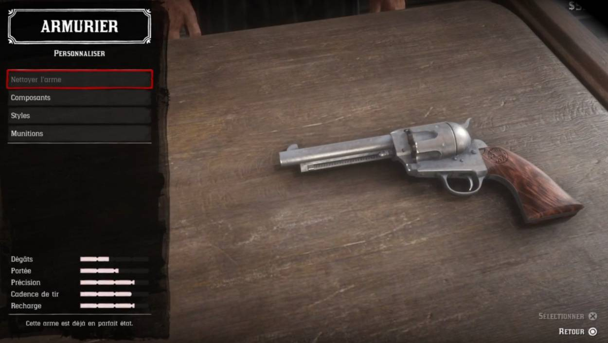 Red Dead Redemption 2 - Customiser les armes - Nettoyer l'arme