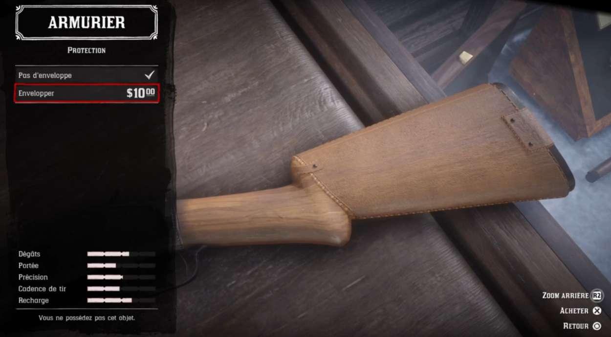 Red Dead Redemption 2 - Customiser les armes - Protection