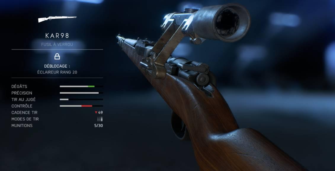 arme KAR98 pour Sniper dans BF5