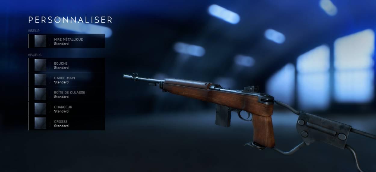 Battlefield 5 Personnalisation Armes - menu 1