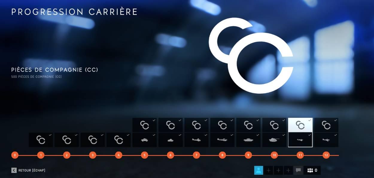 Battlefield 5 Pièces de Compagnie (CC) - progression de carrière - récompense CC