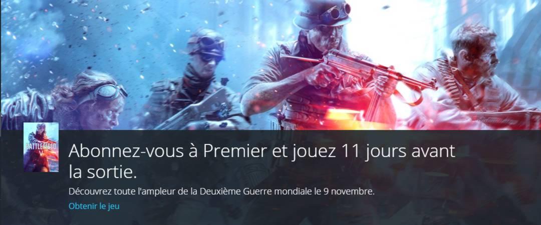 Battlefield 5 disponible aujourd'hui - abonnez vous à Origin Premier