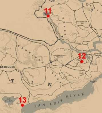 RDR2 Carte Emplacements Poissons Légendaires - zoom 11 12 13