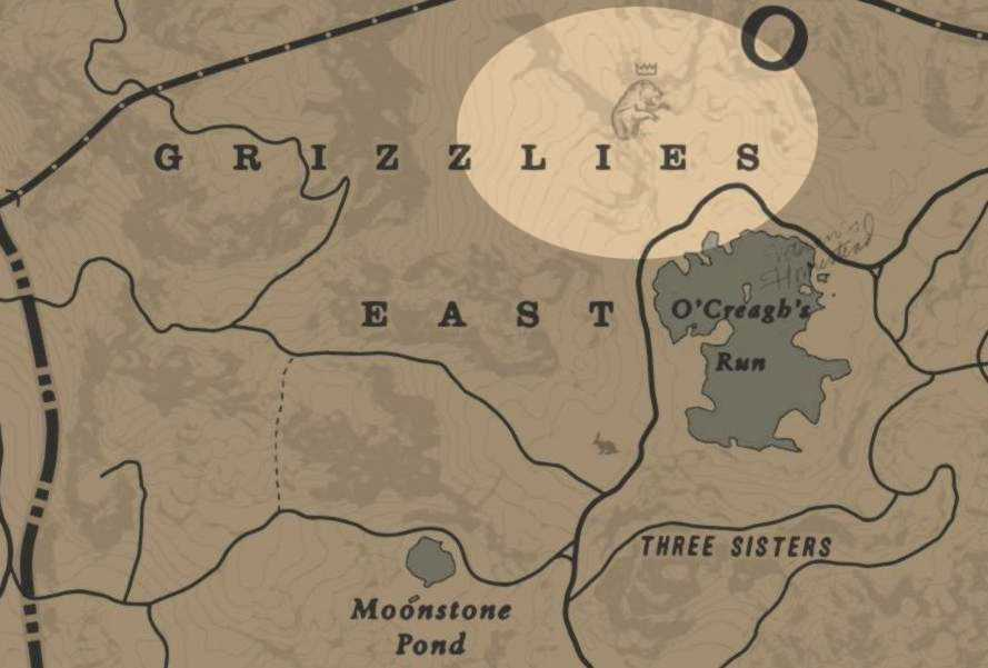 RDR2 Emplacement ours Grizzly légendaire