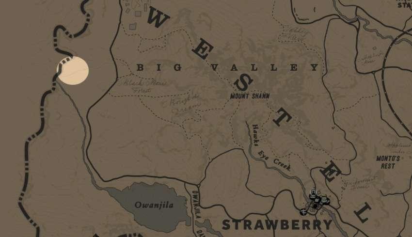 RDR2 emplacement Trappeur 4 dans la région des Big Valley - trappeur 4