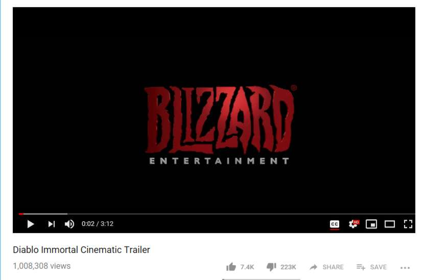 Youtube Diablo Immortal Dislike 223k 20181103