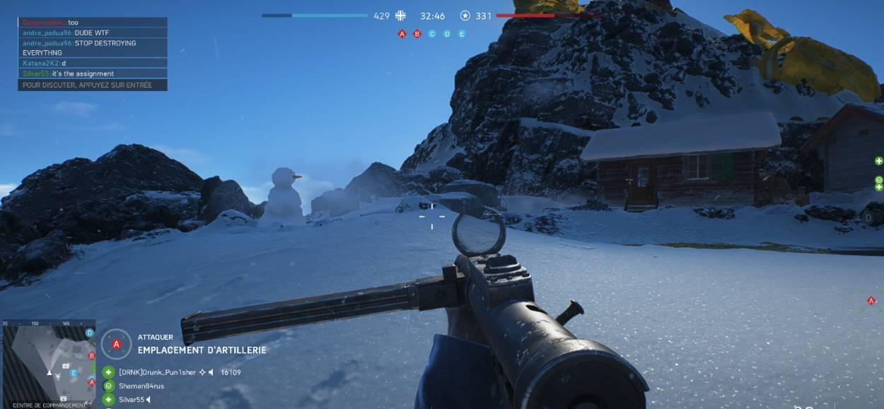 Battlefield 5 - Fjell 652 - bonhomme de neige - vue coté