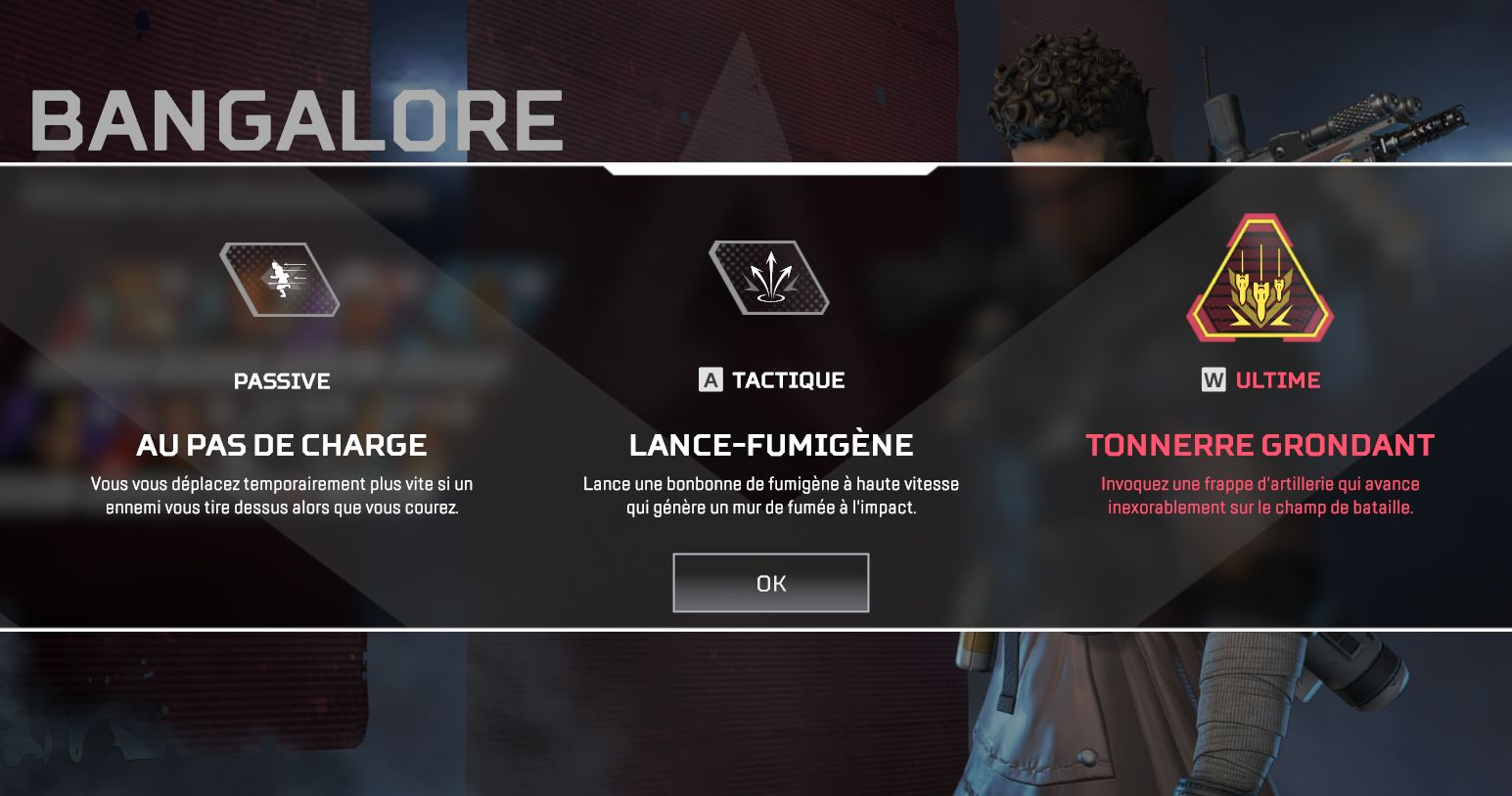 Competences Bangalore - tactique ultime passif - Apex Legends