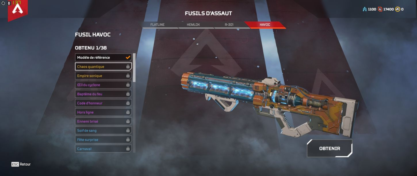 arme Havoc Skin Chaos quantique - Apex Legends Havoc