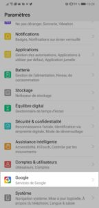 Android Paramètres
