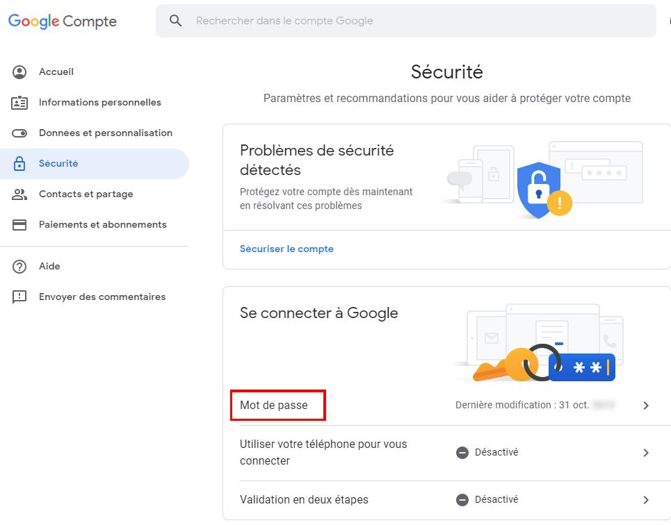 Comment changer son mot de passe Gmail sur le web