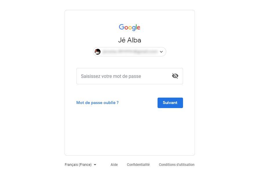 Compte Gmail - mot de passe oublié étape 1