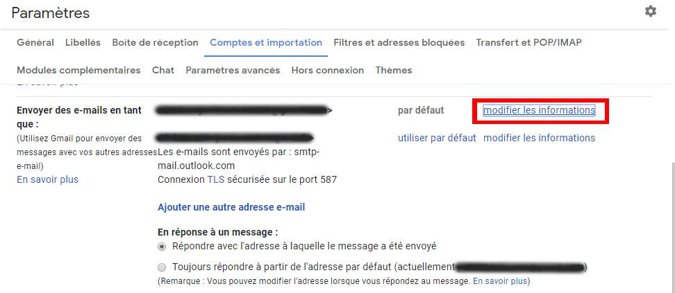 Envoyer des e-mails en tant que - modifier nom gmail