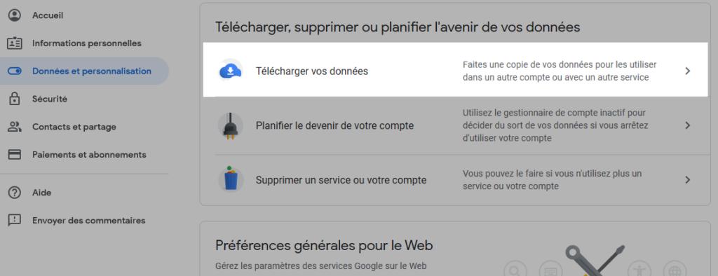 Sauvegarder vos mails dans gmail - etapes Télécharger vos données