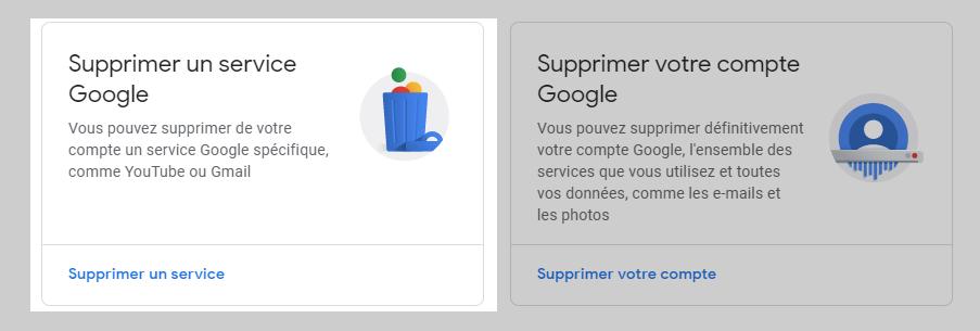 Supprimer un service Google - guide Gmail