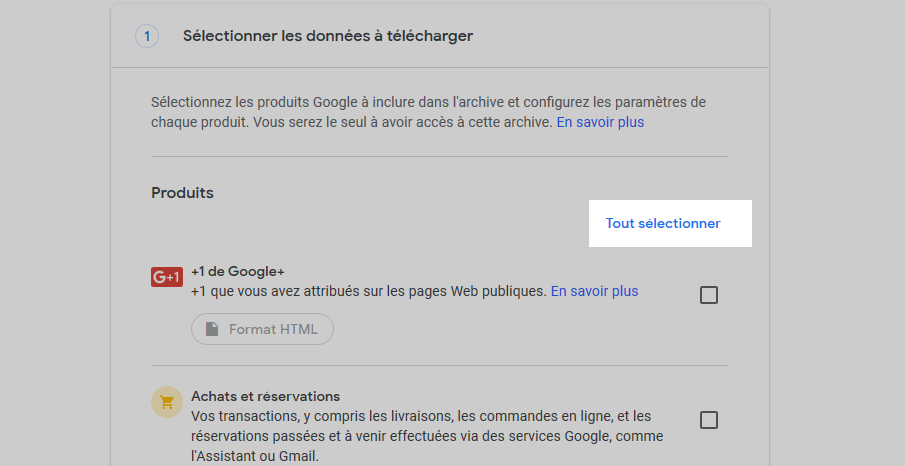 Sauvegarder vos mails Gmail - tout déselectionner