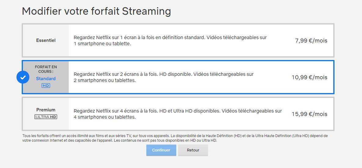 Changement d'abonnement avec les nouveaux tarifs Netflix
