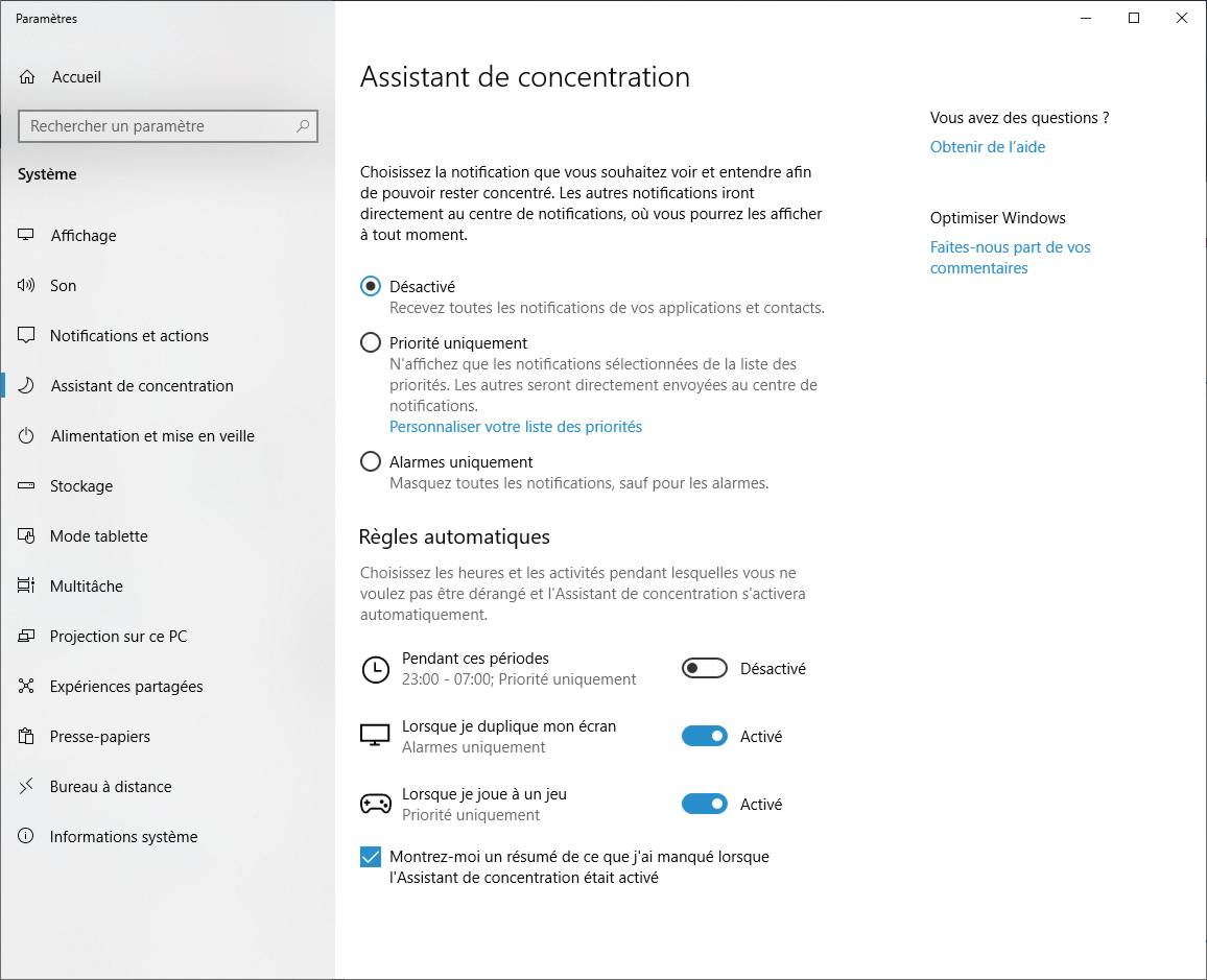 Configurer l'assistant de concentration