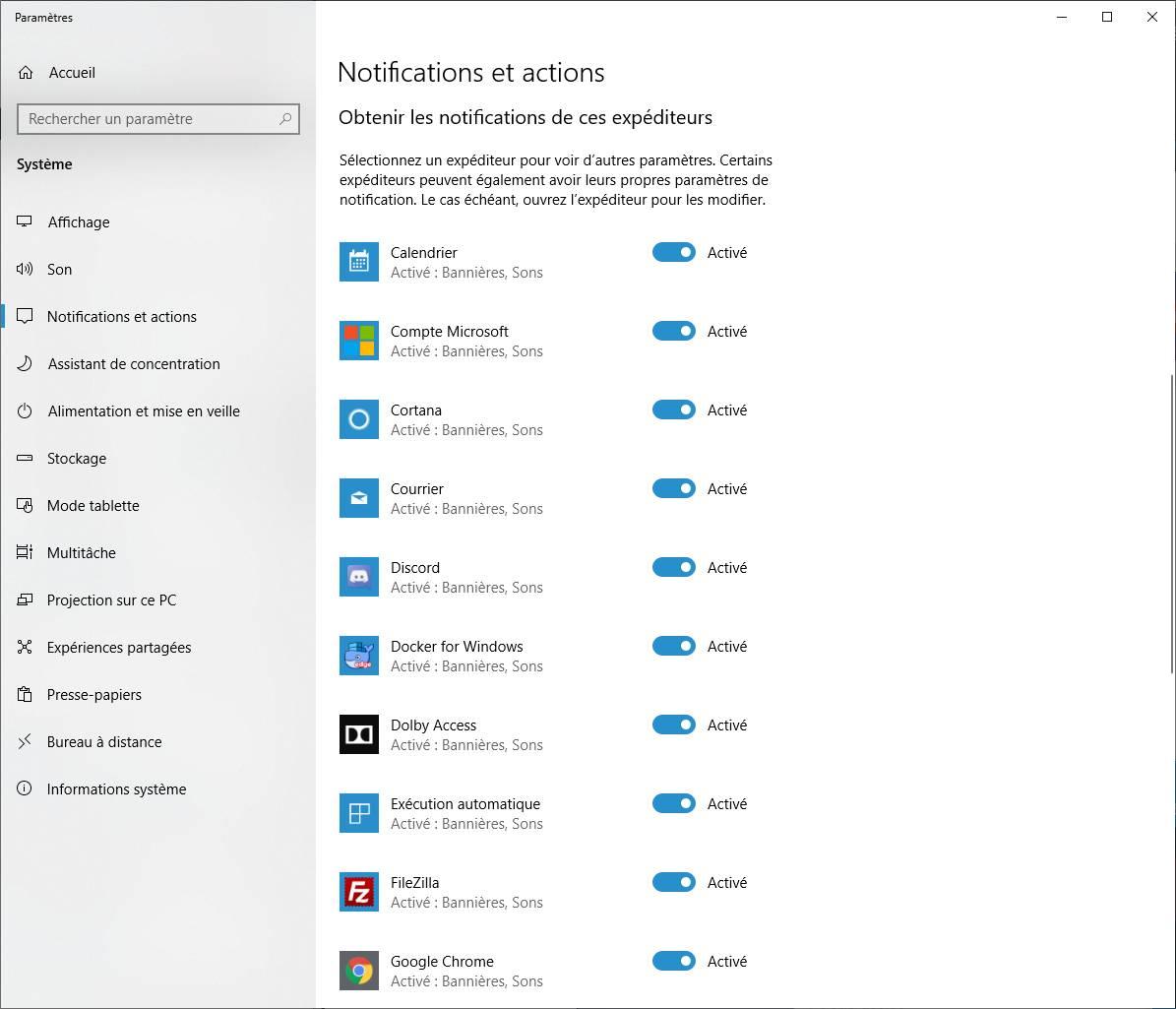 Désactiver les notifications Windows 10 par application
