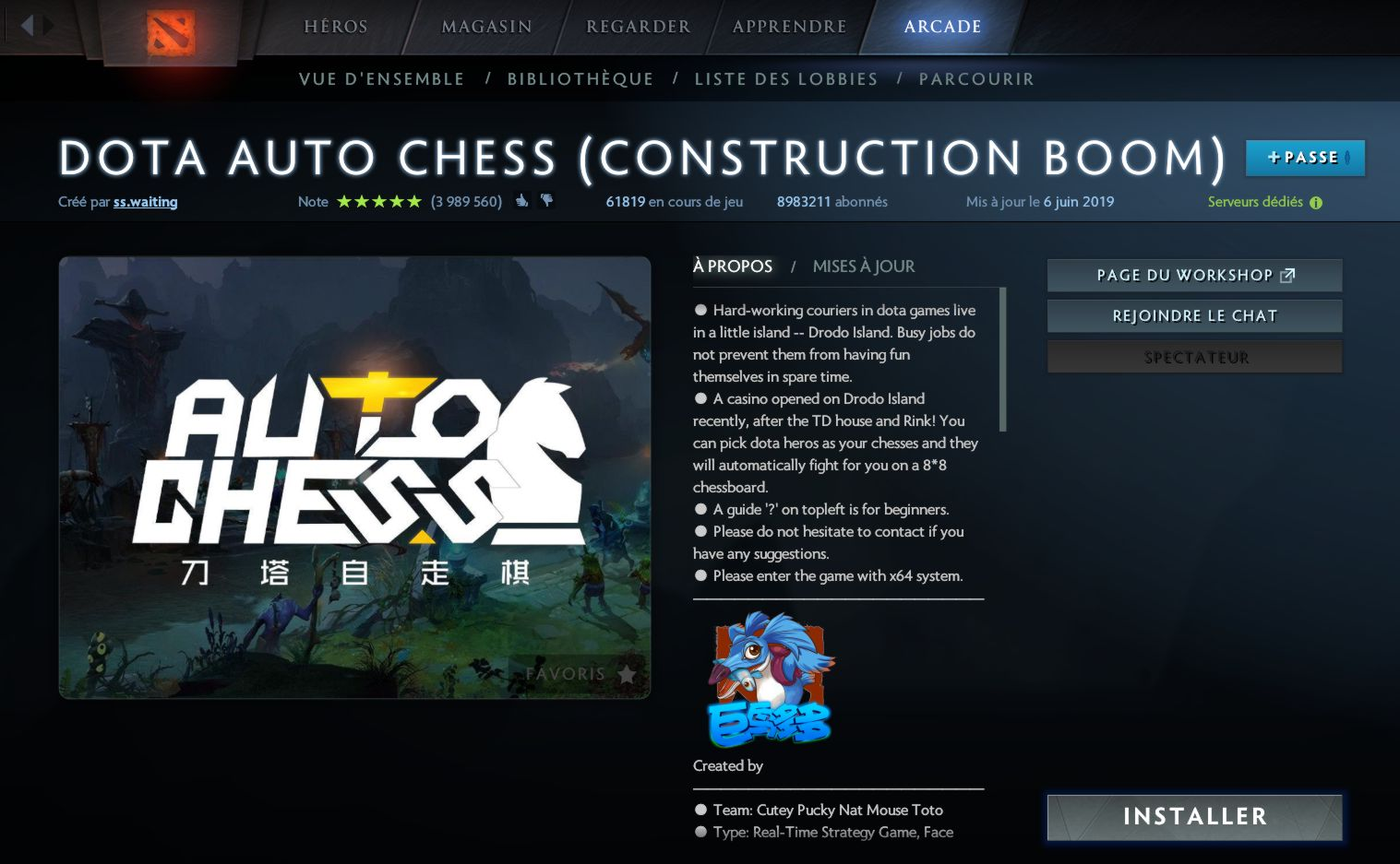 Auto Chess le mode Arcade de Dota 2