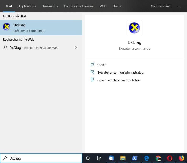 Lancer DXDiag sur Windows 10