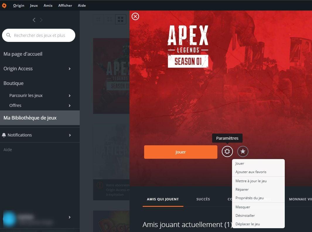 Propriété du jeu Apex Legends pour changer la langue
