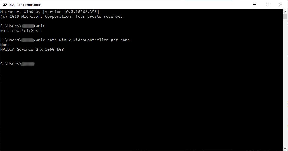 Utiliser l'invite de commande WMIC pour connaitre sa carte graphique sur Windows 10