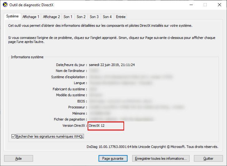 Version DirectX de votre carte graphique avec DXDiag