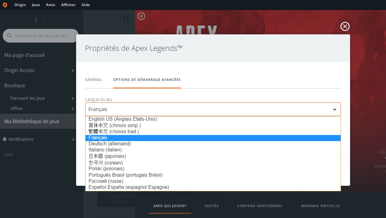 langues disponibles dans Apex Legends