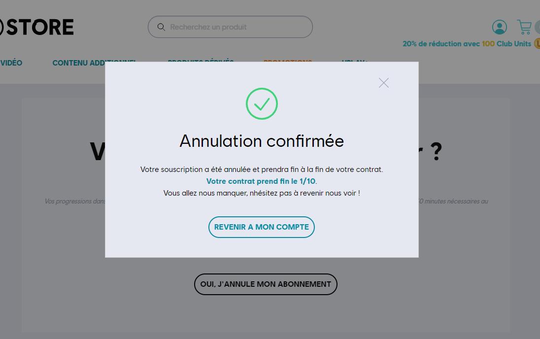 Confirmation de l'annulation de l'abonnement Uplay+