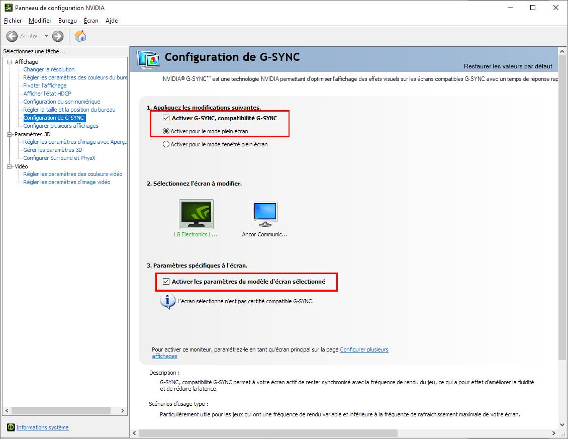 Activer le FreeSync d'un écran avec une carte graphique Nvidia - panneau de configuration