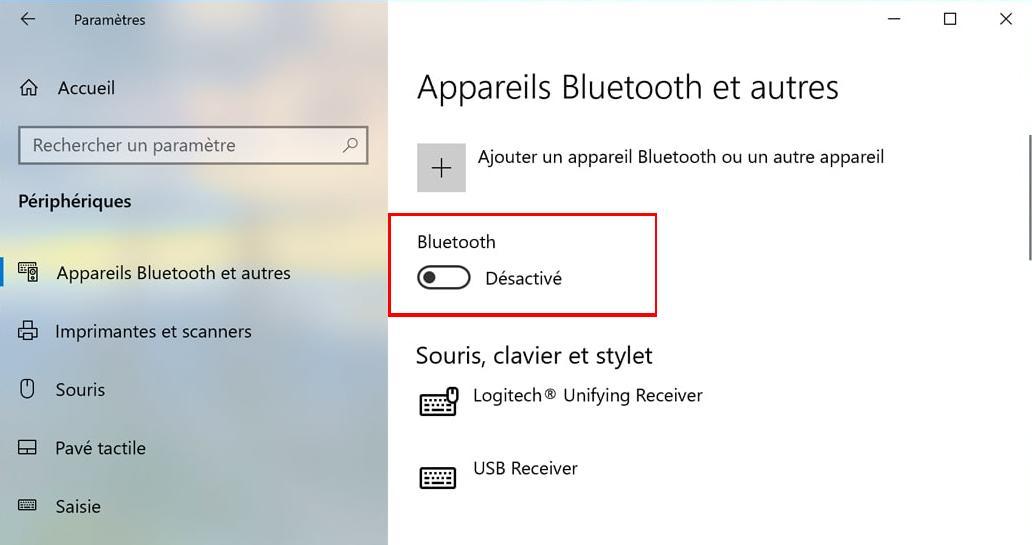 Comment activer le bluetooth sur Windows 10