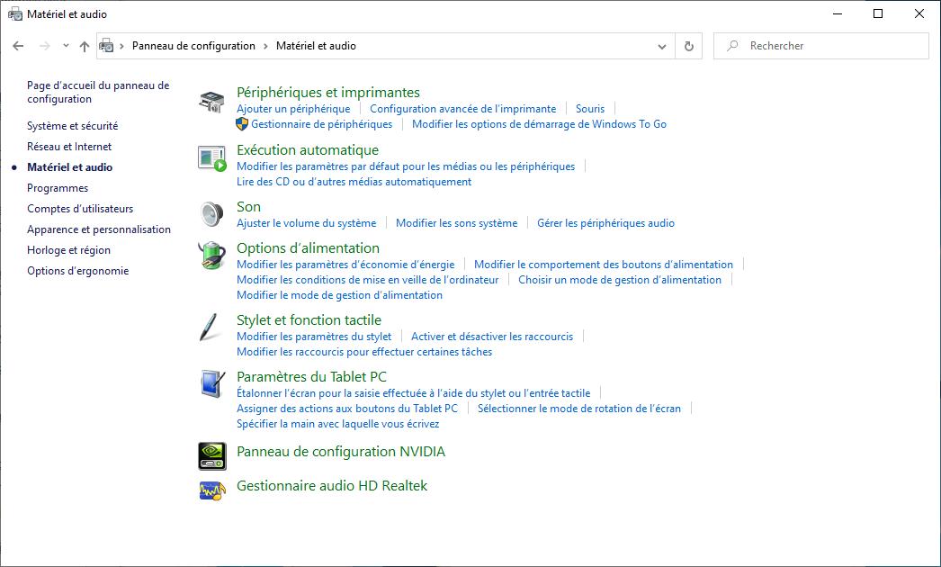 Panneau de configuration Nvidia
