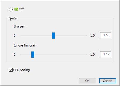 Upscaling intégré dans les réglages de l'image Sharpening Nvidia