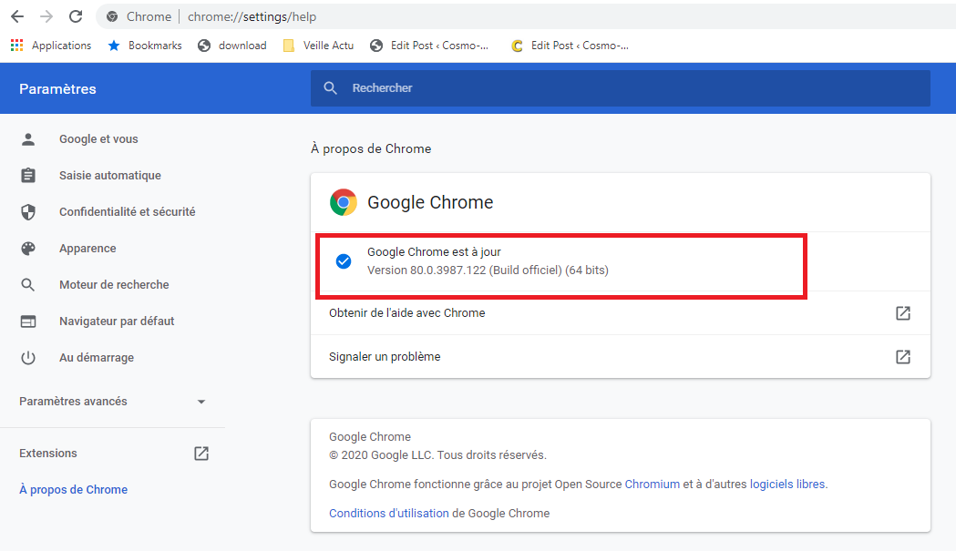 Vérifier la version de Google Chrome sur Windows 10