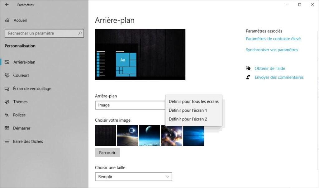 Comment afficher un fond d'écran différent sur deux écrans avec Windows 10
