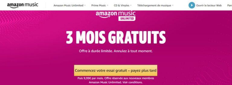 Amazon Music Unlimited Gratuit : 3 mois d'abonnement, sans payer !